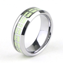 Cross Inlay Glow In The Dark Anello al tungsteno
