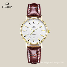 Top Quality Women′s Quartz Watch with Gold Indexes 71041