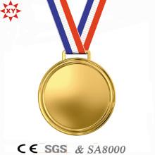 Изготовленное на заказ пустое медаль металла золота с капроновой лентой