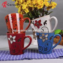 Пользовательские различные цветочные декада 10 унций керамические handpainted кружка