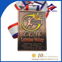 Rectángulo Forma Anticuario Cobre Medalla de voleibol Medalla deportiva con cinta