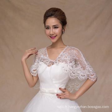 Blouson blanc femme pour robe de mariée appliques en dentelle châle en dentelle blanche