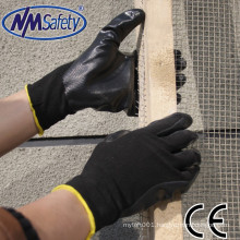NMSAFETY black nitrile washable working glove safety construction gloves