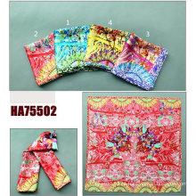 Senhora fashion impresso xale de seda quadrado (ha75502)