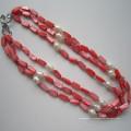 Дэйкинг 3 строки красный ожерелье оболочки, бижутерия