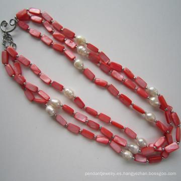 Daking 3 filas rojo collar, joyería de la manera