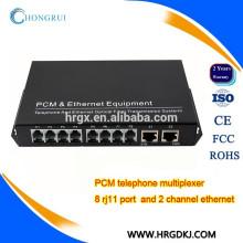8 Channel pcm voice (fxs/fxo) pots fiber multiplexer single fiber single mode