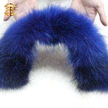 Collier de fourrure de raccoon authentique coloré à la mode pour vêtements et vêtements