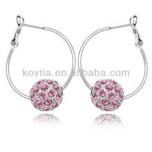 Trendy white gold jewelry crystal diamond ball hoop earrings