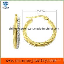 Shineme joyas de moda de acero inoxidable chaquetas de oro pendiente (ERS6904)