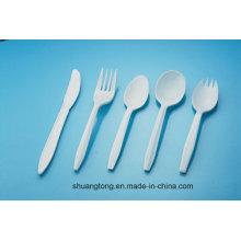Branco PP plástico talheres descartáveis garfo faca colher talheres