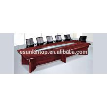 Mesa de conferência acabamento de madeira, mesa de uma única camada para sala de reuniões de escritório (T02)