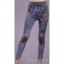 Seamless Ladies Newspaper Print Leggings Blue Jean Leggings