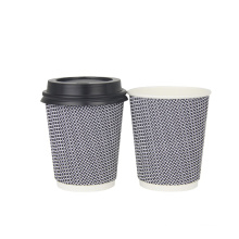 Hot Sale Custom logo printed paper cups triple wall ripple wall coffee paper cup with lids