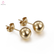 Woman Gypsy Young Girl Simple Design Rolled Solid Stud Small Gold Earring