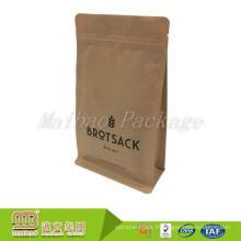 La fermeture à glissière rescellable imprimée par coutume d'empaquetage de catégorie comestible se tiennent le sac inférieur carré de papier de gousset latéral de papier