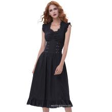 Белль остановить поиски, так как дамы рукавов V-образным вырезом хлопок Ретро старинные черный готический викторианской платье BP000364-1