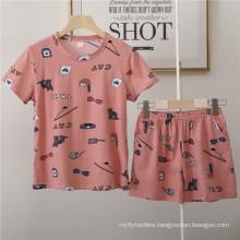 Womens Pajamas Women Set Casual Shorts Short Sleeve Print Cotton T-Shirt Sleepwear Nightwear Set