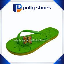 Women′s Size 36 Black & Green Tong Sandals