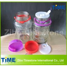 Großes Glas-Wasserhahn-Glas mit Siegelplastikdeckel