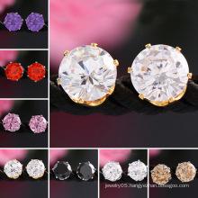 Earings for Woman 18k Gold Gemstone Crystal Jewellery CZ Stud Earrings