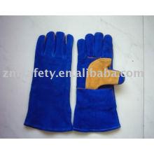 Dark blue safety cow grain leather welding gloves for working
