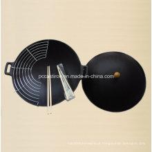 Wok de ferro fundido pré-temperado com diâmetro de capa 25 centímetros