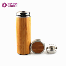 BPA Free Leakproof Insulated Double Wall Vacuum Bamboo Tea Infuser Tumbler Bottle Cup