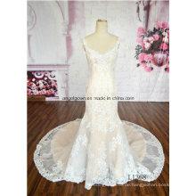 Qualität Halfter Spitze Perlen Braut 2016 klassische Meerjungfrau Hochzeitskleid