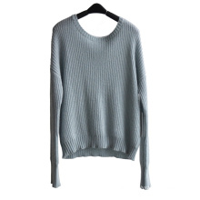 Ladies Round Neck Pure Color Pullover Knitted Sweater
