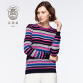 Sweater krew wanita Fair Isle sweater kasmir tulen