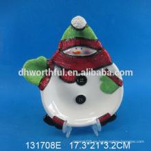 Placa de cerámica del muñeco de nieve de la Navidad del nuevo estilo 2016