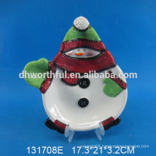 2016 new style Ceramic Christmas Snowman Plate