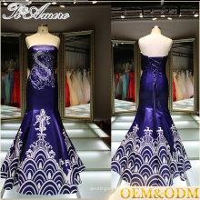 Alibaba China venta al por mayor Azul vestido de baile mujeres vestido de novia Halter