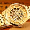 Relojes Hombre Man Montres Steampunk Gold Luxe Marque Top Fameux en acier inoxydable Strap Squelette Fashion Waterproof