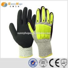 Sunnyhope 13gauge HPPE nitrilo arenoso TPR impacto industrial luvas