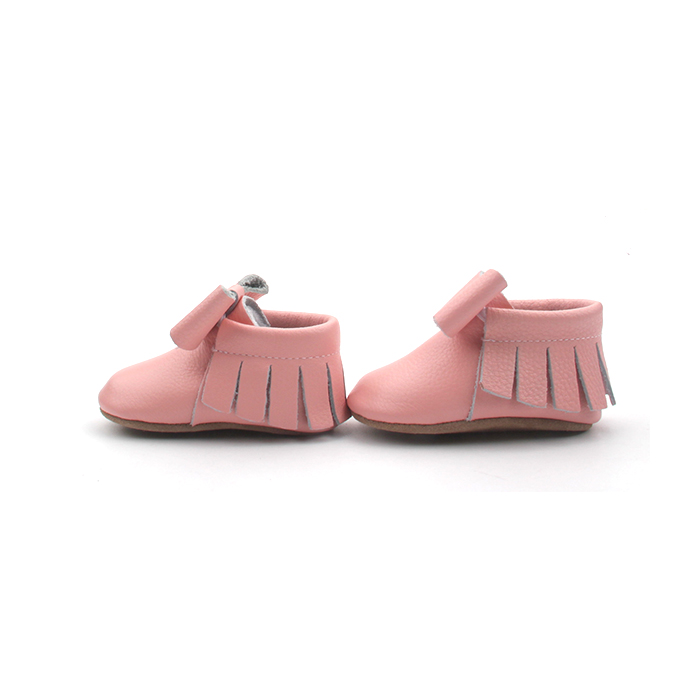 Leather Baby Moccasins Bow Pink Shoes For Girls