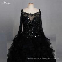 LZF004 черное платье с длинными рукавами из органзы блесток Вечерние платья 2017