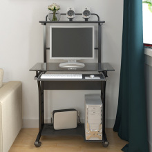 Домашний офис Мобильный компьютерный стол со стеклянной столешницей