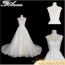 Tiamero brand custom noble style off-white short Cap sleeve a line brides wedding dress with lace wrapping flower