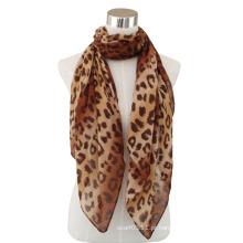 Senhora moda leopardo impresso algodão voile cachecol (yky4074-1)