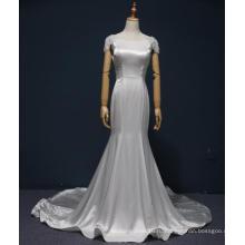 Capped Рукава Русалка Атласная Свадебные Платья