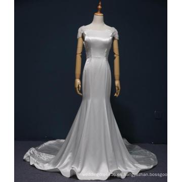 Capped Sleeve Satin Mermaid Vestidos de novia nupciales