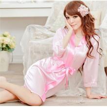 Sexy Women Satin Lace Robe Vêtements de nuit Lingerie Nightdress G-String Pyjamas