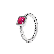 S925 sterling silver shiny square style color series temperament couple ring with ring female