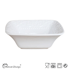 Bol carré en céramique blanche en grès