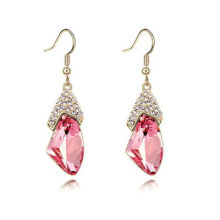 Low Price High Quality Wholesale Gold Plated Fashion Cheap Pink Rhinestone Long Drop Earrings 2013012654
