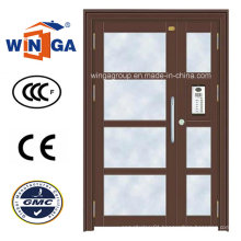 Appartments Using Entrance Security Steel Metal Glass Door (W-GD-26)