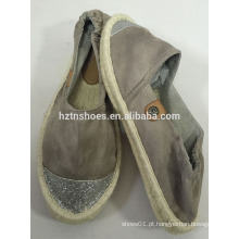 Glitter toe cap nova design espadrille plana sola de juta mulheres sapatos