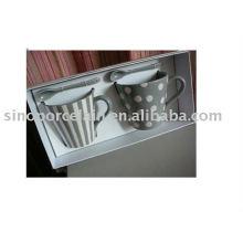 Conjunto 2 canecas de porcelana com tira e spot em caixa de presente para BS09233